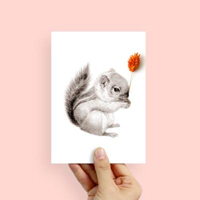 플라워포켓 스탠딩카드 다람쥐