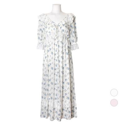 [쿠비카]바스트 셔링 레이스 롱 원피스 잠옷 W604
