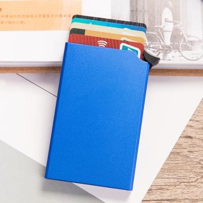 RFID차단 버튼 슬라이드 카드지갑(블루)