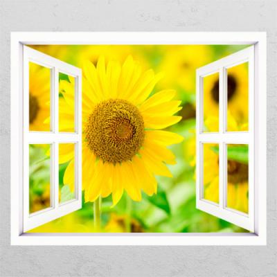 da431-노란빛의해바라기꽃_창문그림액자