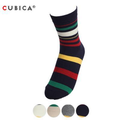 [쿠비카]트리플 컬러배색 줄무늬 중목 여성양말SCS108