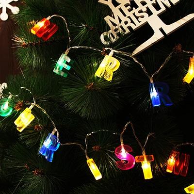 LED 메리크리스마스 알파벳(칼라) 건전지(밧데리) 전구 가랜드 (웜)