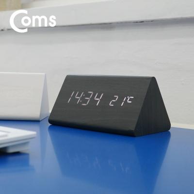 디지털 우드 LED 탁상용 시계 LCBB818 (BLACK)