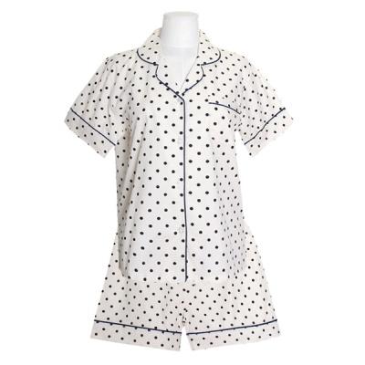 [쿠비카]땡땡이 면 반팔 투피스 여성잠옷 W718