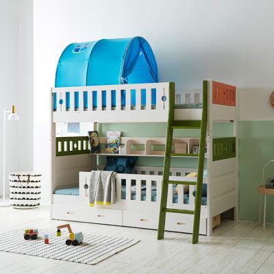 이홈데코 페페 원목 서랍형 2층침대+압축 매트리스