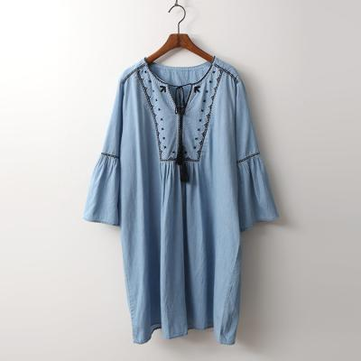 Denim Broderie Tassel Dress -  9부소매