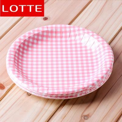 10p  타탄체크종이접시(핑크)(23cm)