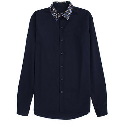 [게타] Getta Flower collar shirt (navy)