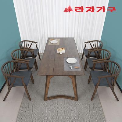 헤들 고무나무 원목 식탁세트 6인 B타입