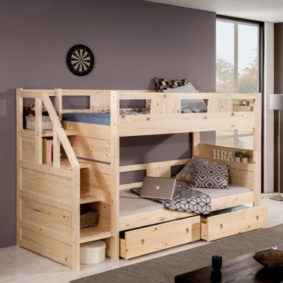 유럽형 원목 수납 이층 침대 (슬림매트) B16