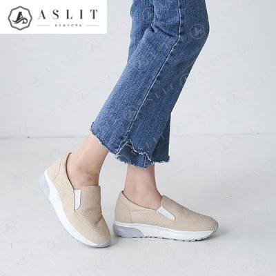 [애슬릿]여성 투톤 매쉬 키높이 슬립온 운동화 3cm