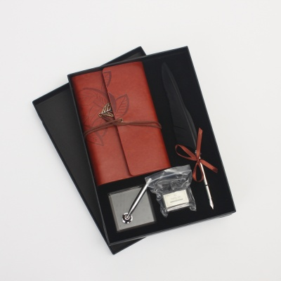 루아 퀼 깃털 만년필 다이어리 세트(블랙)