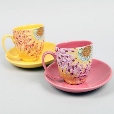 가우디패턴 커피잔 SET(핑크,옐로우)