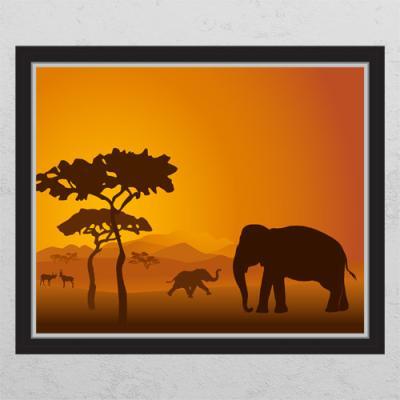 tc401-아프리카동물코끼리_창문그림액자