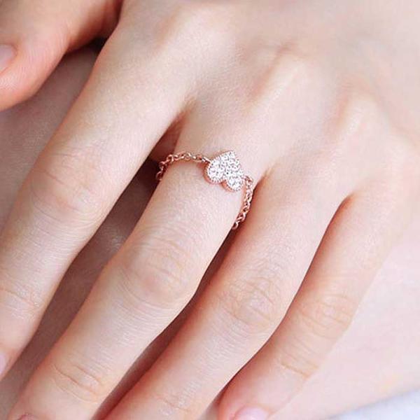 Mujer bonita Rings 프랜시스 로즈골드 체인 반지
