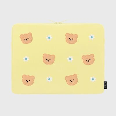 Dot flower bear-yellow-15inch notebook pouch