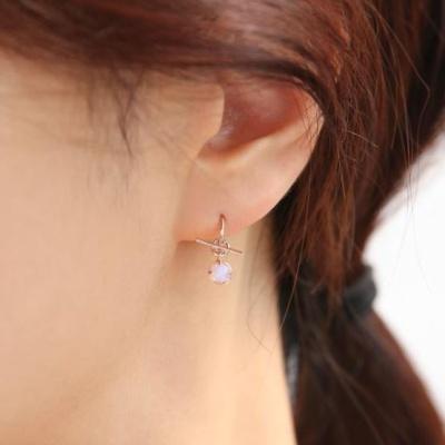 OST 핑크오팔 투웨이 하프링 실버 귀걸이