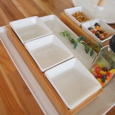 젠스타일 사각찬기 3P 셋트 그릇 접시