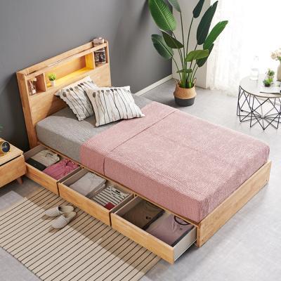 [노하우] 로뎅 LED 고무나무원목 A형 3서랍 침대 SS