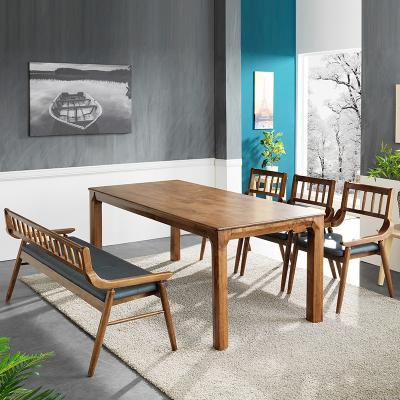 리머스 고무나무 원목 6인 식탁+벤치의자 세트