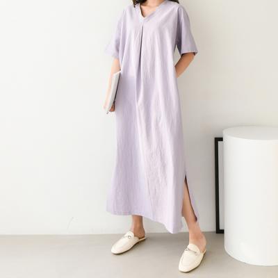 Linen V-Neck Long Dress