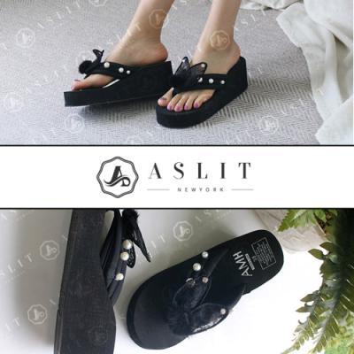 [애슬릿]진주 장식 쪼리 웨지 통굽 슬리퍼