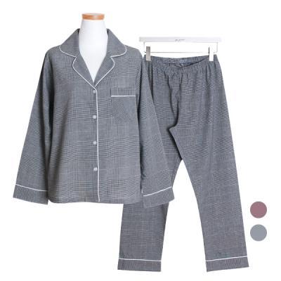 [쿠비카]켈리 체크 순면 투피스 여성잠옷 W420
