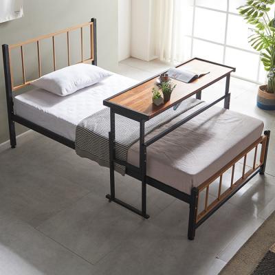 심플라인 철제 슈퍼싱글침대 +각도조절 원목 테이블