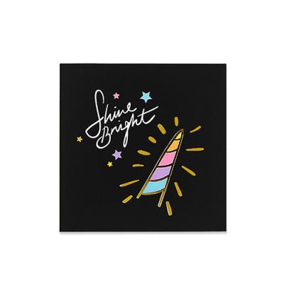 [금박] 블랙 트윙클 유니콘 카드
