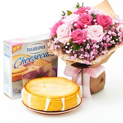 필라델피아 치즈케익 라즈베리 스월(794g)+핑크키스꽃다발