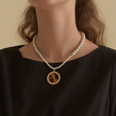 Pearl shining gold necklace__2color