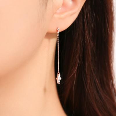 OST 스퀘어 큐빅 드롭 체인 귀걸이