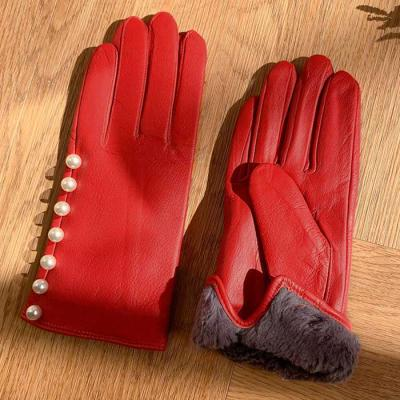 WINTER Woman 진주장식 leather GLOVES 2color