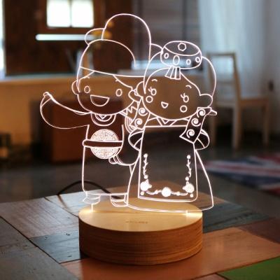 전통신랑신부아크릴 LED무드등 결혼선물 집들이선물