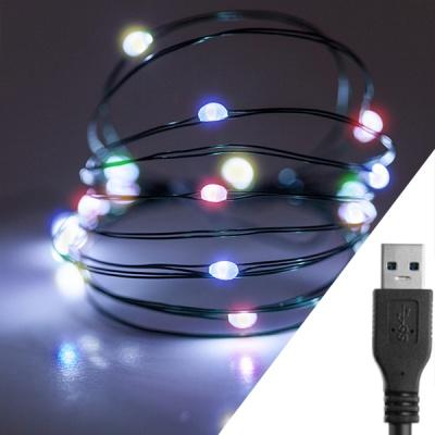 스트링라이트 10M USB 레인보우_그린 와이어