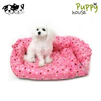 퍼피하우스 딸기 사각 강아지 쿠션 (핑크)