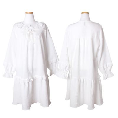 [쿠비카]이중지 안젤라 순면 원피스 여성잠옷 W141