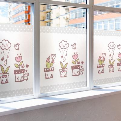 창문 유리창 시트지 칼라 안개시트지 귀요미화분들01