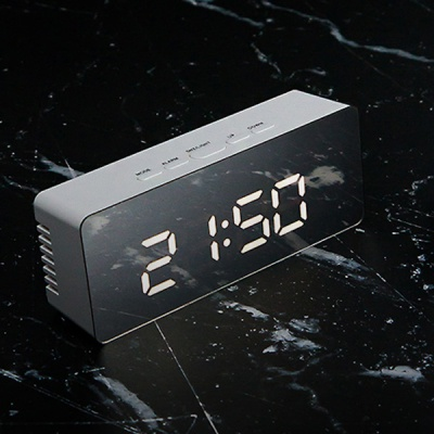 거울 알람 LED 시계 탁상시계 온도계 LLC-P02 사각