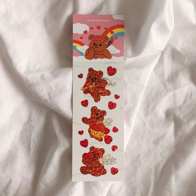 큐피드곰 미니왕 홀로그램 씰스티커