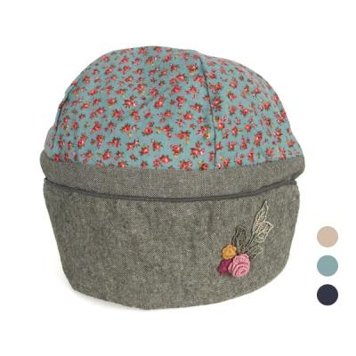 [디꾸보]잔꽃 배색 코튼 꽃패치 여성모자 AC427