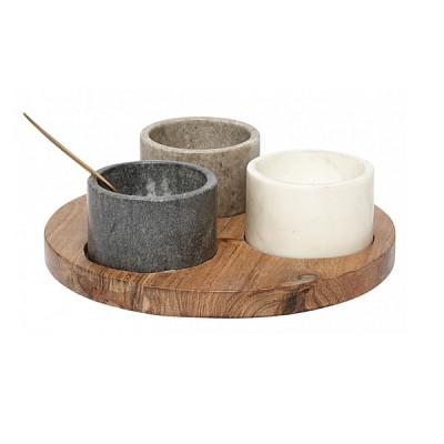 [Hubsch]Holder w/3 bowls & spoon, marble/acacia/brass 518007 볼&스푼