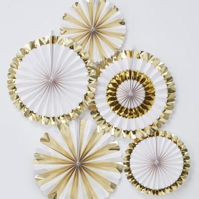 골드 페이퍼팬 5개세트 Gold Foiled Paper Fan