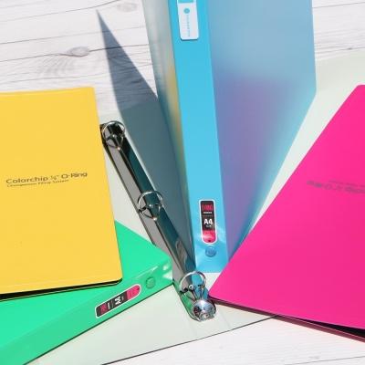 [청운그린화일] 1/2 inch 링의 간결한 두께..Color Chip 미니 3공 O링 PP바인더 HB174