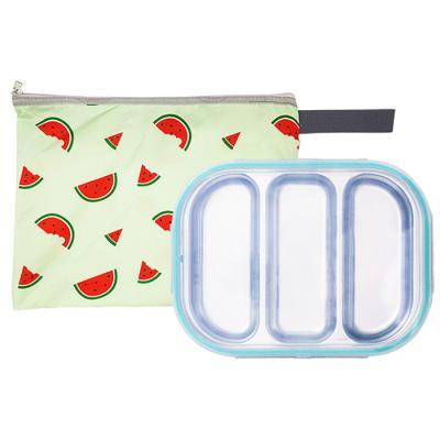수박젤리 3구 민트 유아식판 뚜껑+파우치 포함