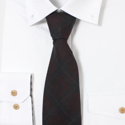 남자 와인블루 체크 넥타이