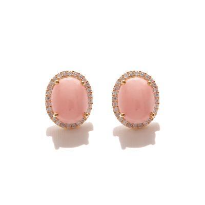 제이로렌 0M01081 핑크오팔 라운드 큐빅 귀걸이