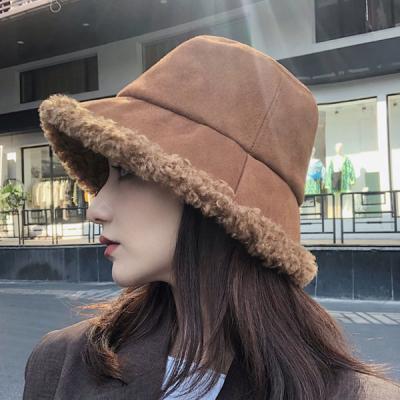 비튠 스웨이드 겨울 뽀글이 털 벙거지 버킷햇 모자
