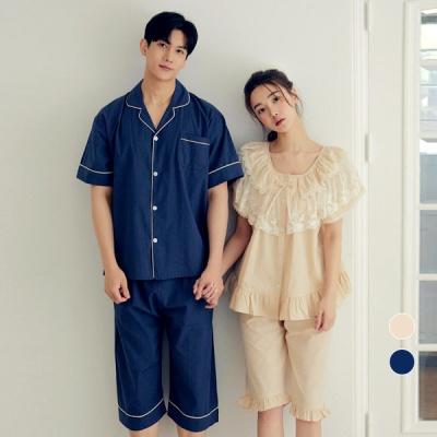 [쿠비카]라운드 넥 레이스 투피스 커플잠옷 WM328
