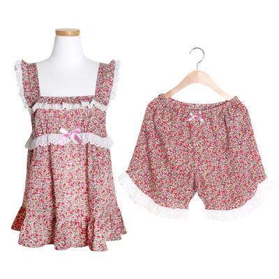 [쿠비카]스퀘어 넥 플라워 숏 투피스 여성잠옷 W149